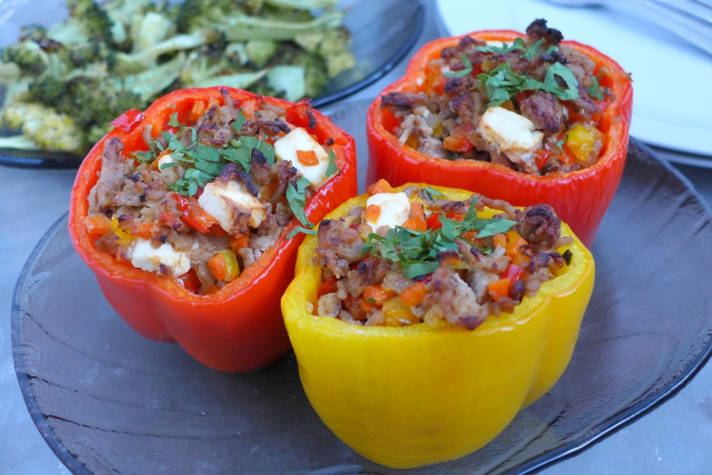 Stuffed Bell Peppers with Feta Cheese and roasted broccoli